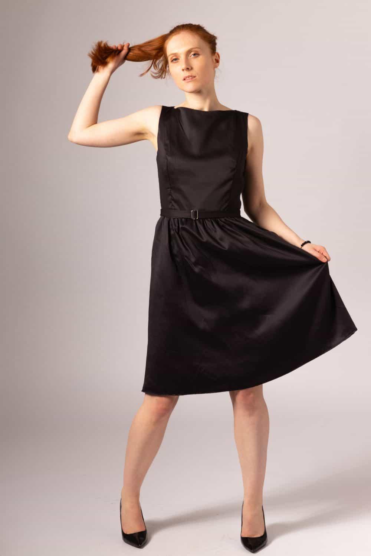 Black Hand Made Vegan Silk Knee Length Dress 300 Eco Friendly Products