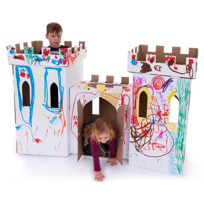 White Cardboard Castle Playhouse Eco Friendly Products