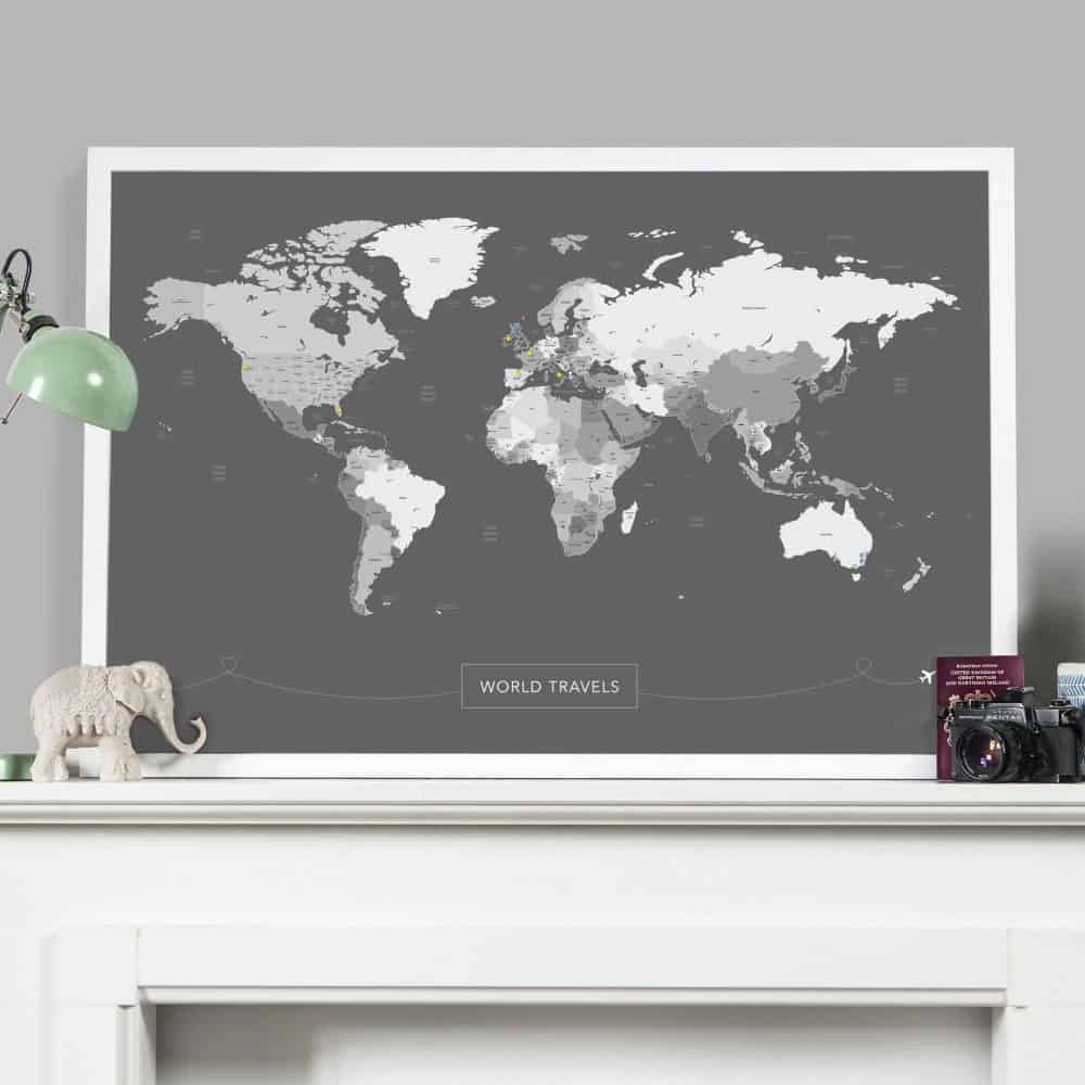 Grey Pinboard World Map Eco Friendly Products