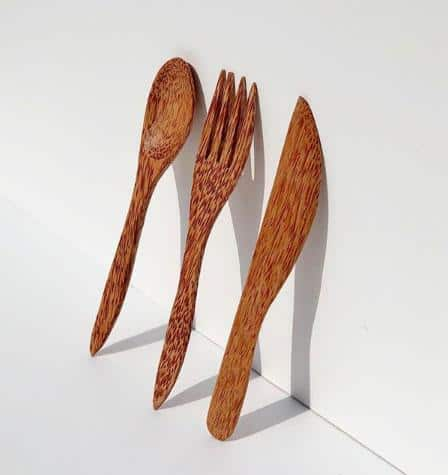Huski Home Coconut Wood Spoon Knife And Fork Eco Friendly Products