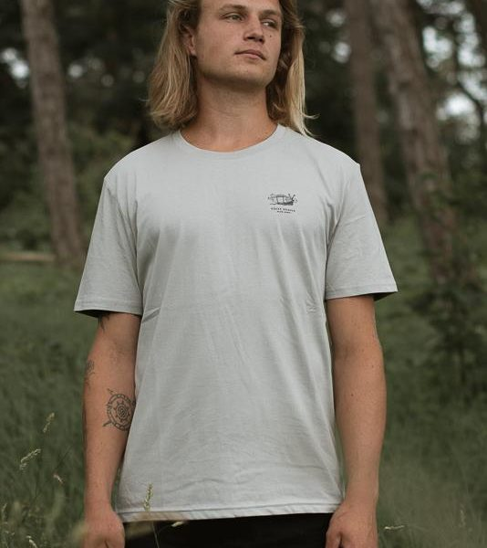 Salty Snails T-shirt in Opal with small chest design from Olas Palmas Collection