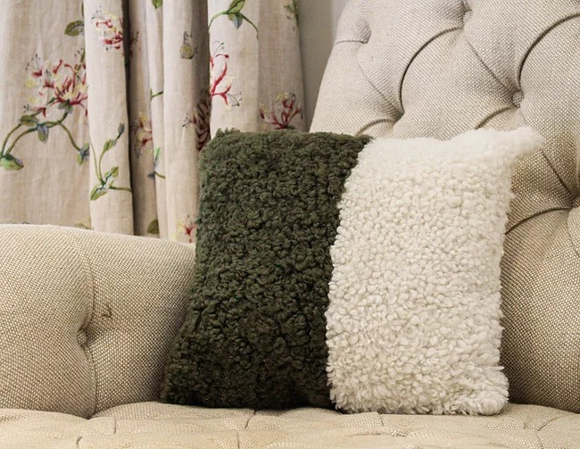Green White Cushion Eco Friendly Products